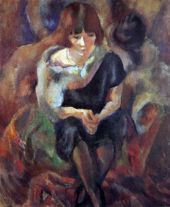 Jules Pascin Lucy Wearing aa Fake Fur - Canvas Art Print
