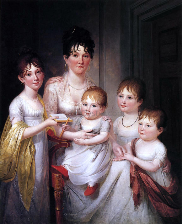 James Peale Madame Dubocq and Her Children - Canvas Art Print