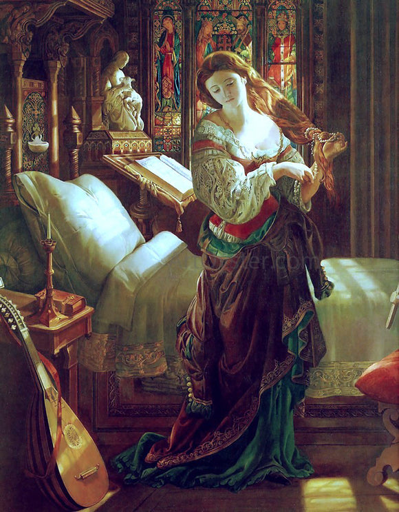 Daniel Maclise Madeline after prayer - Canvas Art Print