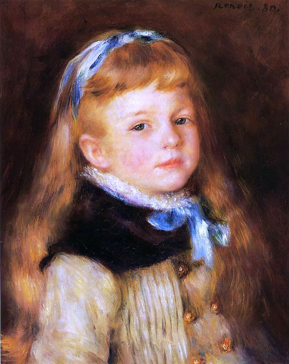 Pierre Auguste Renoir Mademoiselle Grimprel in a Blue Ribbon - Canvas Art Print