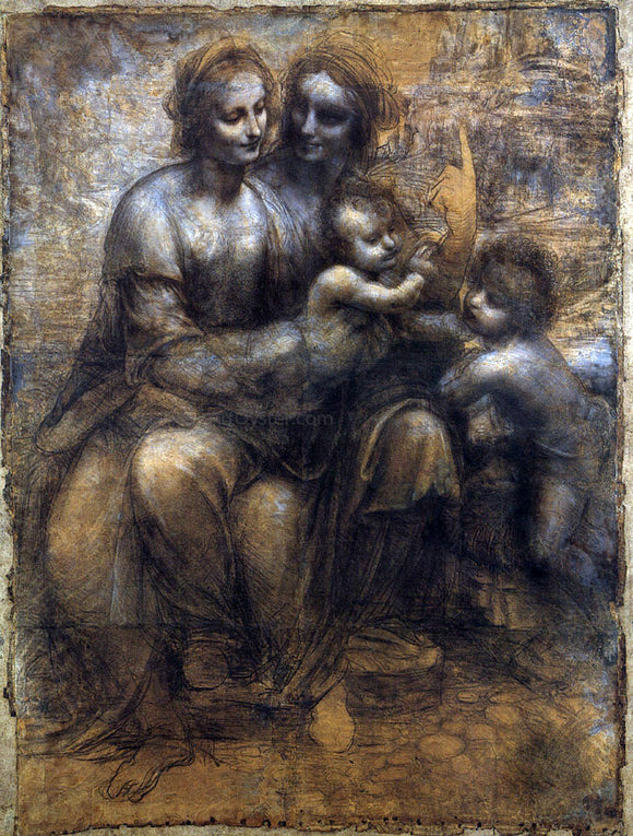 Leonardo Da Vinci Madonna and Child with St Anne and the Young St John - Canvas Art Print