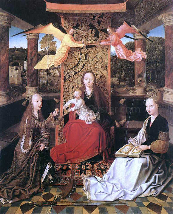 Master of Hoogstraeten Madonna and Child with Sts Catherine and Barbara - Canvas Art Print