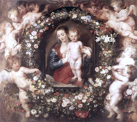 Peter Paul Rubens Madonna in Floral Wreath - Canvas Art Print
