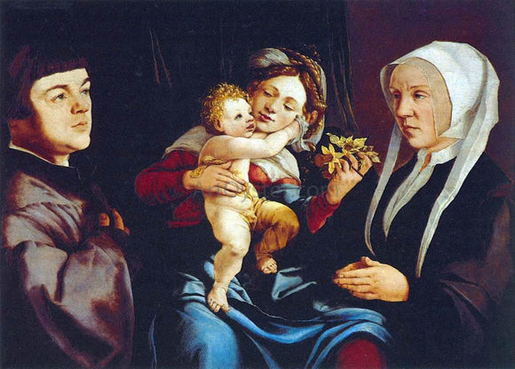Jan Van Scorel Madonna of the Daffodils with the Child and Donors - Canvas Art Print