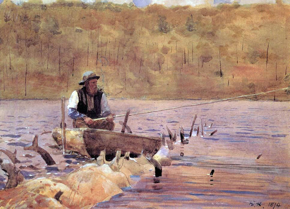 Winslow Homer Man in a Punt, Fishing - Canvas Art Print