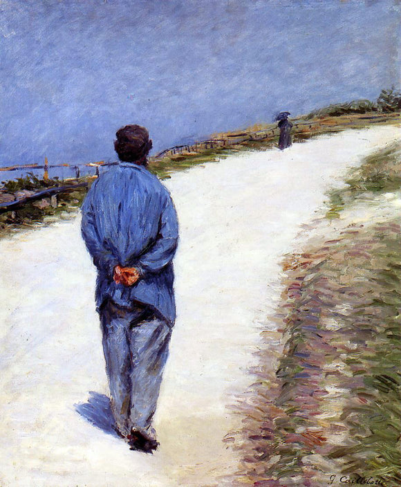 Gustave Caillebotte Man in a Smock (also known as Father Magloire on the Road between Saint-Clair and Etretat) - Canvas Art Print