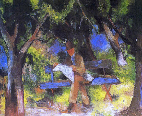 August Macke Man Reading in a Park - Canvas Art Print