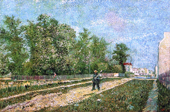 Vincent Van Gogh Man with Spade in a Suburb of Paris - Canvas Art Print