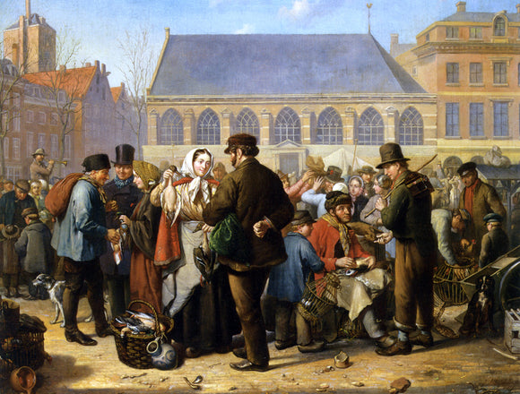 Jacob Akkersdijk Many Figures on the Nieuwe Markt in Rotterdam - Canvas Art Print
