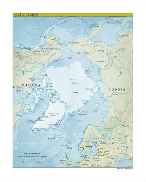 Arctic Region Map - Physical