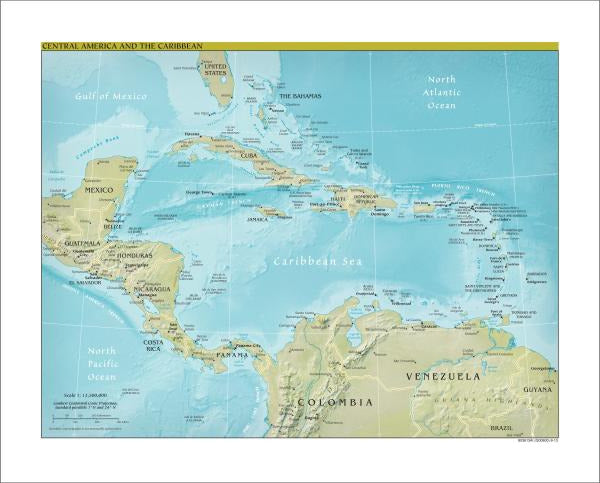 Map Collection Central America Map - Physical Art Print ...
