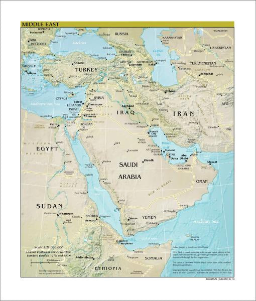 Middle East Map - Physical
