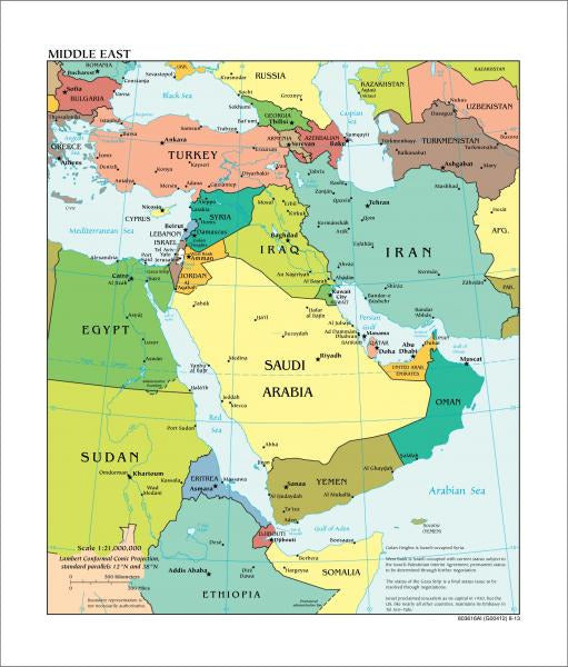 Middle East Map - Political