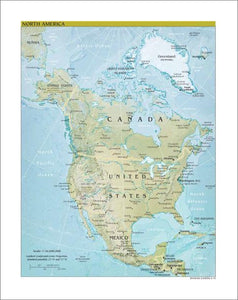 North America Map Physical.Map Collection North America Map Physical Art Print Canvasartdealer