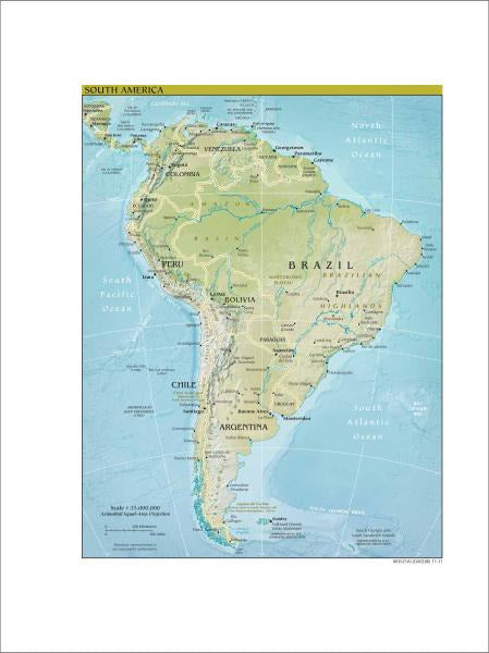 South America Map - Physical