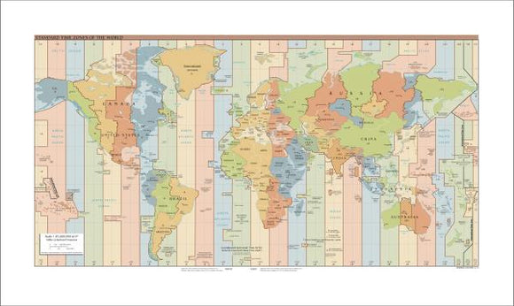 Standard Time Zones of the World Map