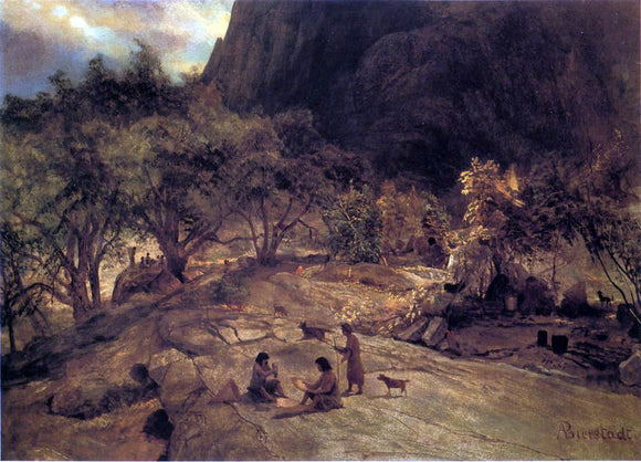 Albert Bierstadt Mariposa Indian Encampment, Yosemite Valley, California - Canvas Art Print