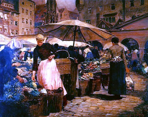 Louis Comfort Tiffany Market Day at Nuremberg - Canvas Art Print