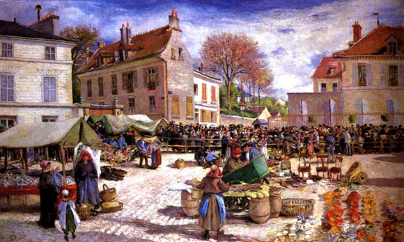 Ludovic Piette Market Place at Pontoise - Canvas Art Print