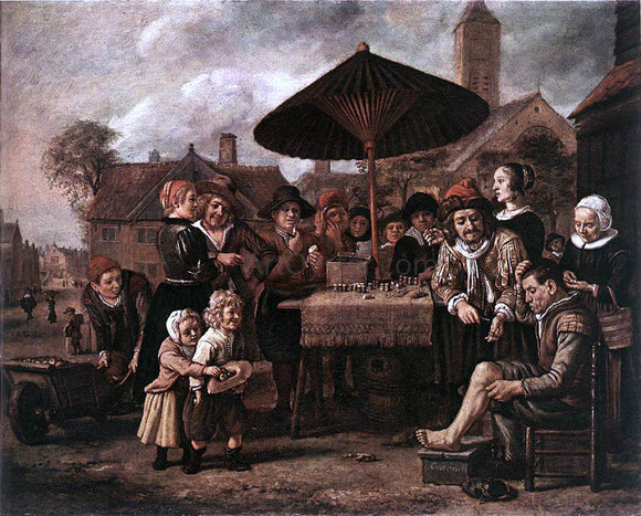 Jan Victors Market Scene with a Quack at his Stall - Canvas Art Print
