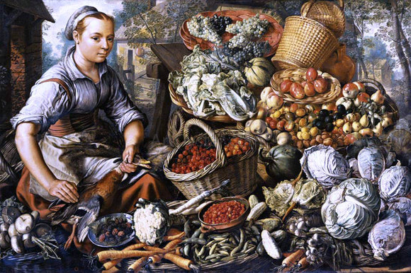 Joachim Beuckelaer Market Woman with Fruit, Vegetables and Poultry - Canvas Art Print
