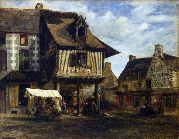 Theodore Rousseau Market-Place in Normandy - Canvas Art Print