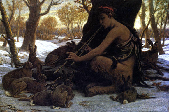 Elihu Vedder Marsyas Enchanting the Hares - Canvas Art Print