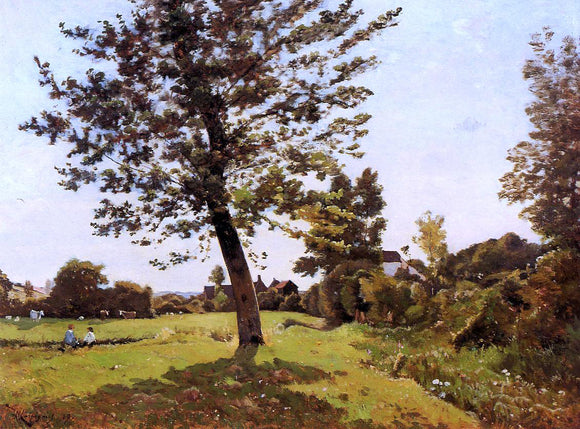 Henri Harpignies Meadow, Sunlight Effect - Canvas Art Print