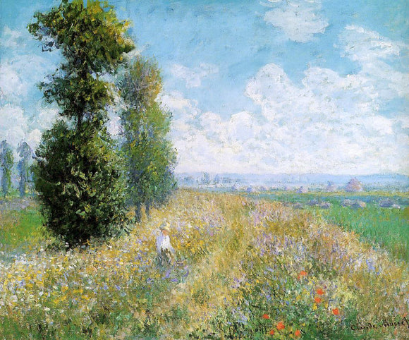 Claude Oscar Monet Meadow with Poplars (also known as Poplars near Argenteuil) - Canvas Art Print
