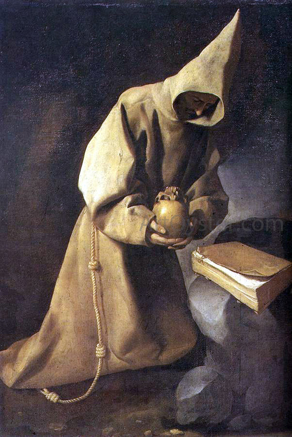 Francisco De Zurbaran Meditation of St Francis - Canvas Art Print