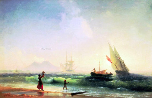 Ivan Constantinovich Aivazovsky Meeting of a Fishermen on Coast of the Bay of Naples - Canvas Art Print