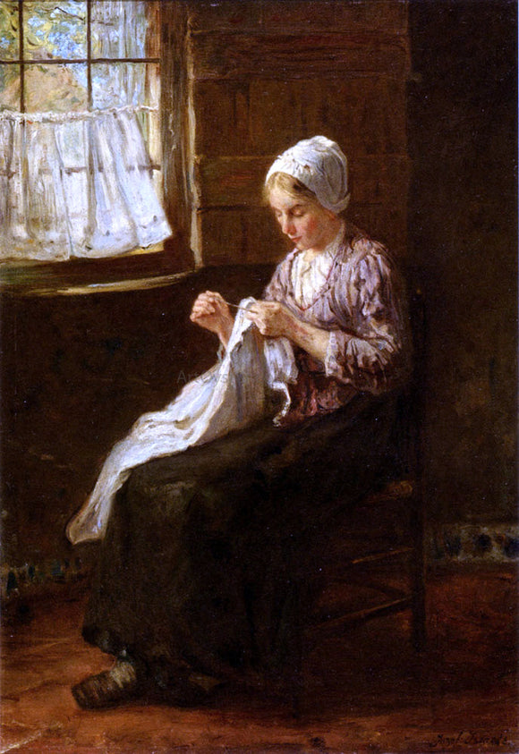 Jozef Israels Mending By A Window - Canvas Art Print