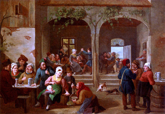 Constantin Fidele Coene Merrymaking In The Tavern - Canvas Art Print