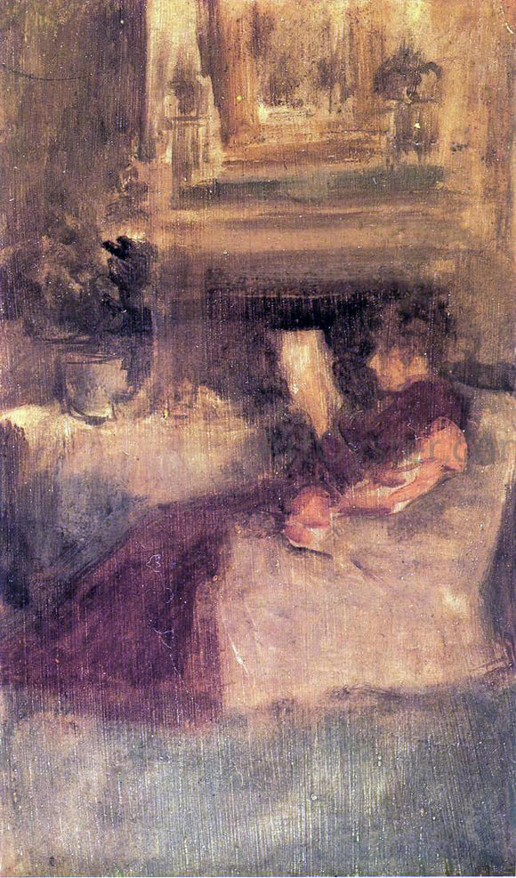 James McNeill Whistler Miss Ethel Philip Reading - Canvas Art Print