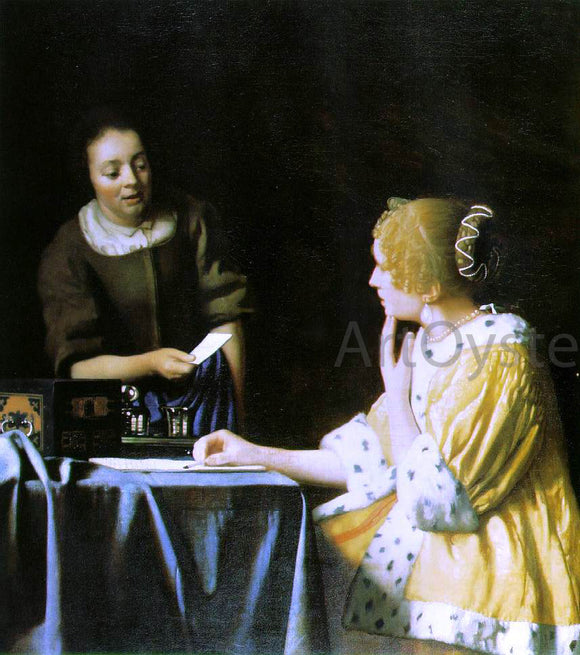 Johannes Vermeer Mistress and Maid - Canvas Art Print