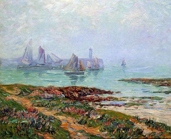 Henri Moret Misty Day at Dielette - the Manche - Canvas Art Print