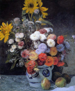 Pierre Auguste Renoir Mixed Flowers in an Earthenware Pot - Canvas Art Print