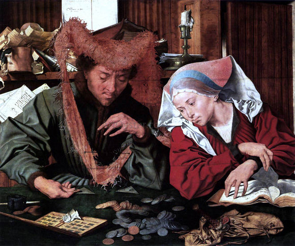Marinus Van Reymerswaele Money-Changer and his Wife - Canvas Art Print