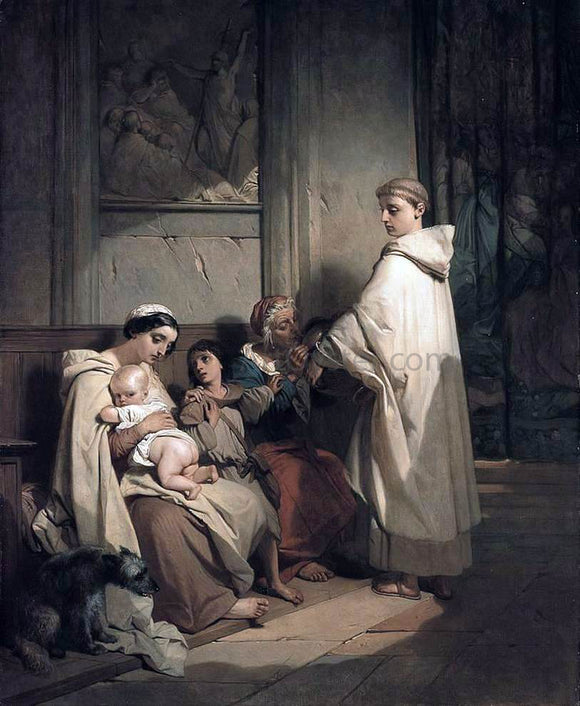 Louis Gallait Monk Feeding the Poor - Canvas Art Print