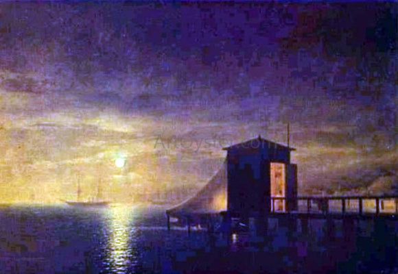 Ivan Constantinovich Aivazovsky Moonlit Night, A Bathing Hut in Feodosia - Canvas Art Print
