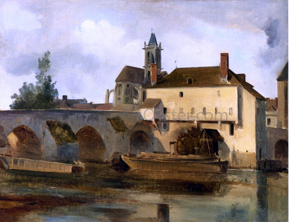 Jean-Baptiste-Camille Corot Moret sur Loing, the Bridge and the Church - Canvas Art Print