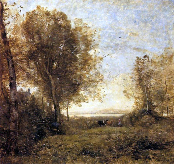 Jean-Baptiste-Camille Corot Morning - Woman Hearding Cows - Canvas Art Print