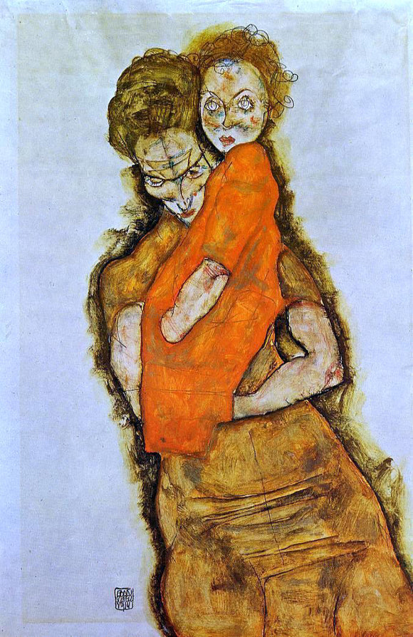Egon Schiele Mother and Child - Canvas Art Print
