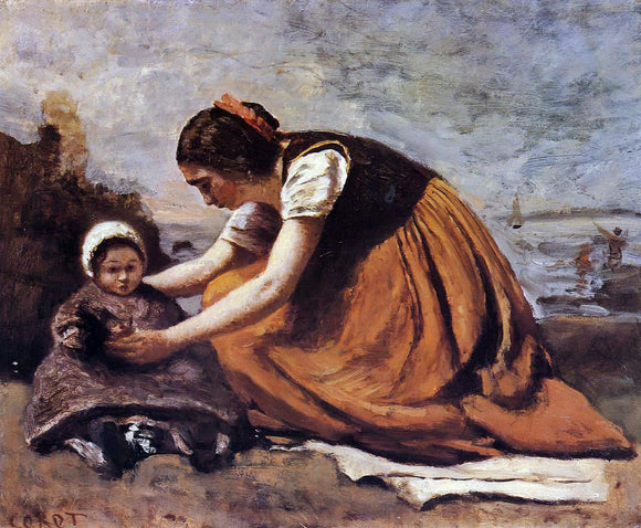 Jean-Baptiste-Camille Corot Mother and Child on the Beach - Canvas Art Print
