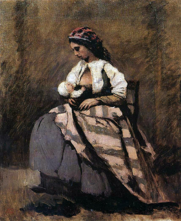 Jean-Baptiste-Camille Corot Mother Breast Feeding Her Child - Canvas Art Print