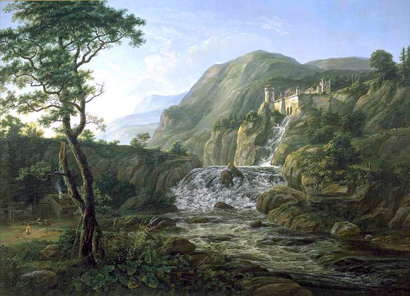 Johan Christian Claussen Dahl Mountain Landscape with a Castle - Canvas Art Print