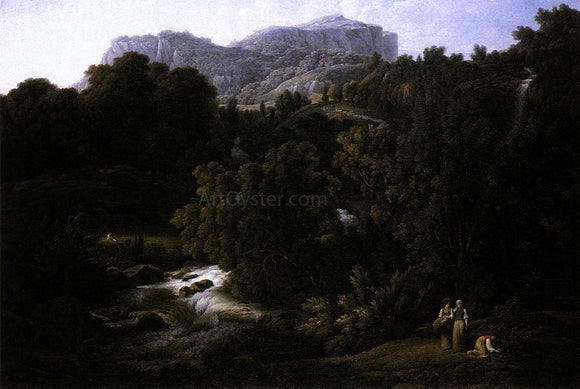 Joseph Anton Koch Mountain Scene - Canvas Art Print
