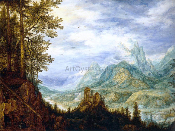 Roelandt Jacobszoon Savery Mountainous Landscape with a Castle - Canvas Art Print