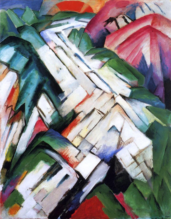 Franz Marc Mountains (also known as Rocky Way / Landscape) - Canvas Art Print