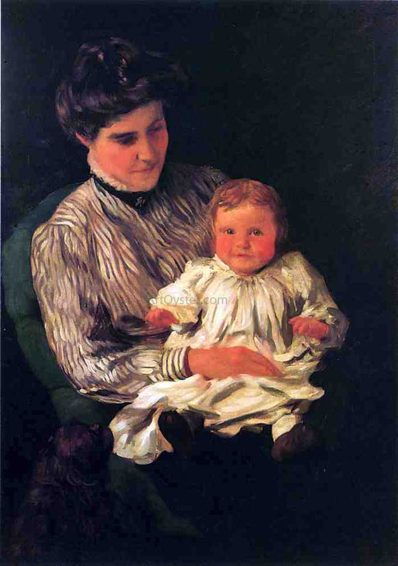 Thomas Pollock Anschutz Mrs. Anshutz and Her Son Edward - Canvas Art Print
